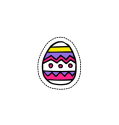 Easter egg doodle icon sticker vector