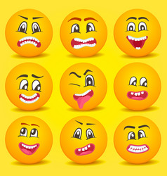Emoticon smiley cartoon set vector