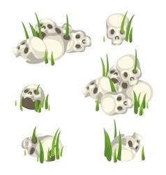 Few piles of human skulls in the grass vector