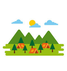 forest camp tents tree pine natural adventure vector image