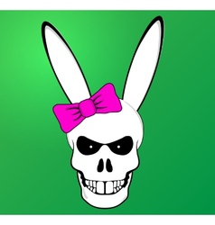 Funny Easter Bunny skull with pink bow vector image