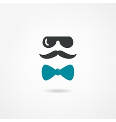 Glasses mustache and a bow tie vector