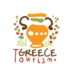 Greece tourism logo template hand drawn vector