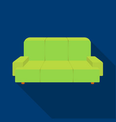 Green couch icon in flat style isolated on white vector