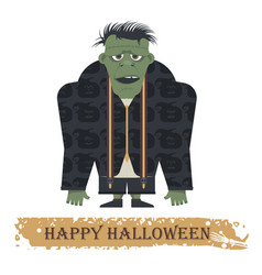 halloween greeting card with zombie vector image vector image