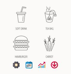 Hamburger tea bag and soft drink icons vector