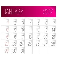 January 2017 calendar template vector