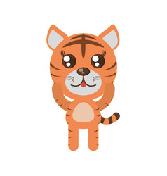 kawaii tiger animal toy vector image