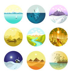 landscape nature icons of mountains ocean vector image vector image