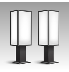 Luminous stands pillars for indoor advertising vector