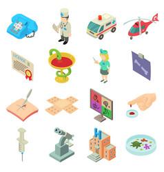 Medicine icons set isometric style vector