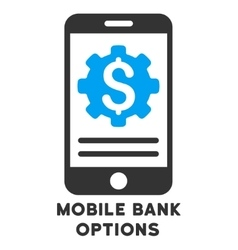 Mobile bank options icon with caption vector