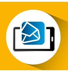 Mobile phone icon open envelope social media vector