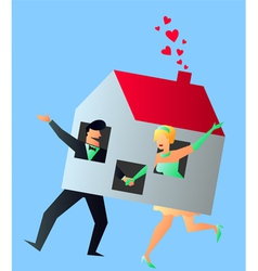 Newlyweds young couple sharing their new home vector