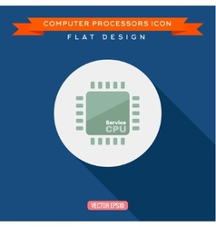Processor icon cpu long shadow flat design vector