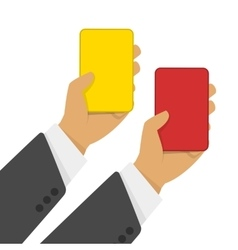 Red and yellow cards in hand vector