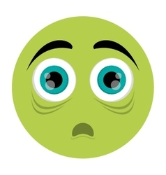 Scared face emoticon icon vector