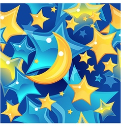 Seamless background - stars and moon vector image vector image