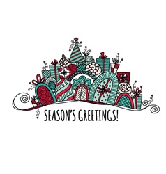 Seasons Greetings Christmas Banner Doodle vector image