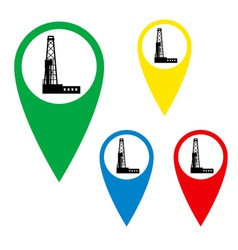 The silhouette of the drilling rig on the map mark vector