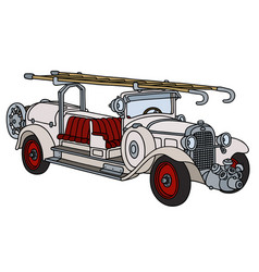 Vintage white fire truck vector
