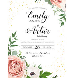 Wedding floral invite invitation card design rose vector