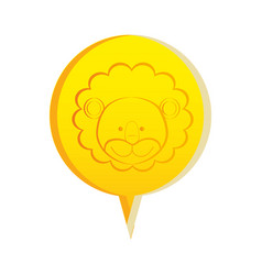 Yellow round chat bubble with lion animal inside vector