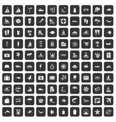 100 beach icons set black vector