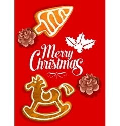 Christmas holiday greeting card with gingerbread vector