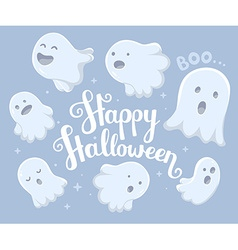 Halloween of many white flying ghosts with e vector