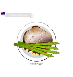 Steak veggies the popular dish of australia vector