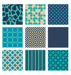 Set of turquoise blue beige ornaments vector