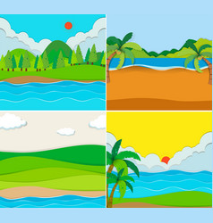 Four scenes of beach and river vector
