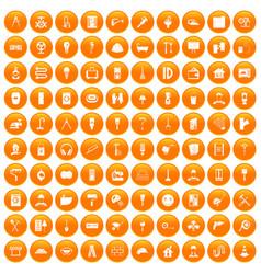 100 renovation icons set orange vector image