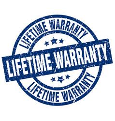 Lifetime warranty blue round grunge stamp vector