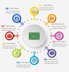 Infographic template with mail icons vector