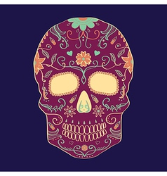 Day of the dead skull with ornament vector