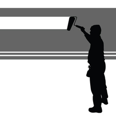 Worker paint wall vector