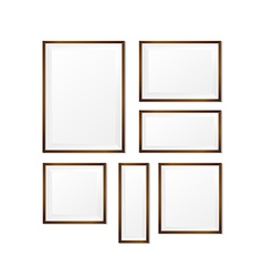 Set of blank wood photo frame on white background vector