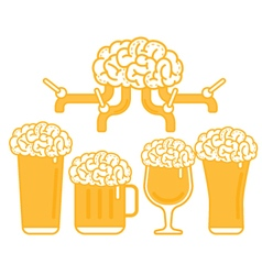 Brain beer tap and various types of glass vector