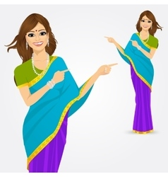 Indian woman pointing something vector