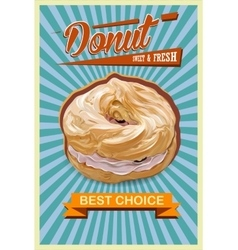 Retro donut poster promotional sign vector
