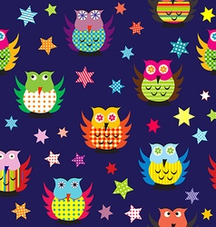 Owls in the nighttime seamless pattern vector