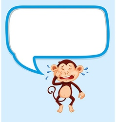 Speech bubble with monkey crying vector