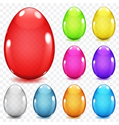 Transparent glass easter eggs vector