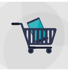 Shopping cart and digital marketing design vector