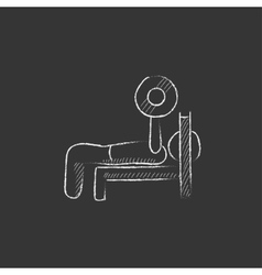 Man lying on bench and lifting barbell drawn in vector