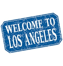 Welcome to los angeles blue square grunge stamp vector