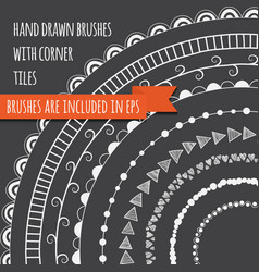 set of hand drawn brushes vector image