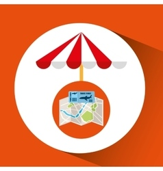 Airline ticket map travel umbrella beach vector